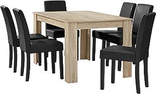 [en.casa] Table à Manger chêne Brilliant avec 6 chaises Noir Cuir-synthétique rembourré140x90