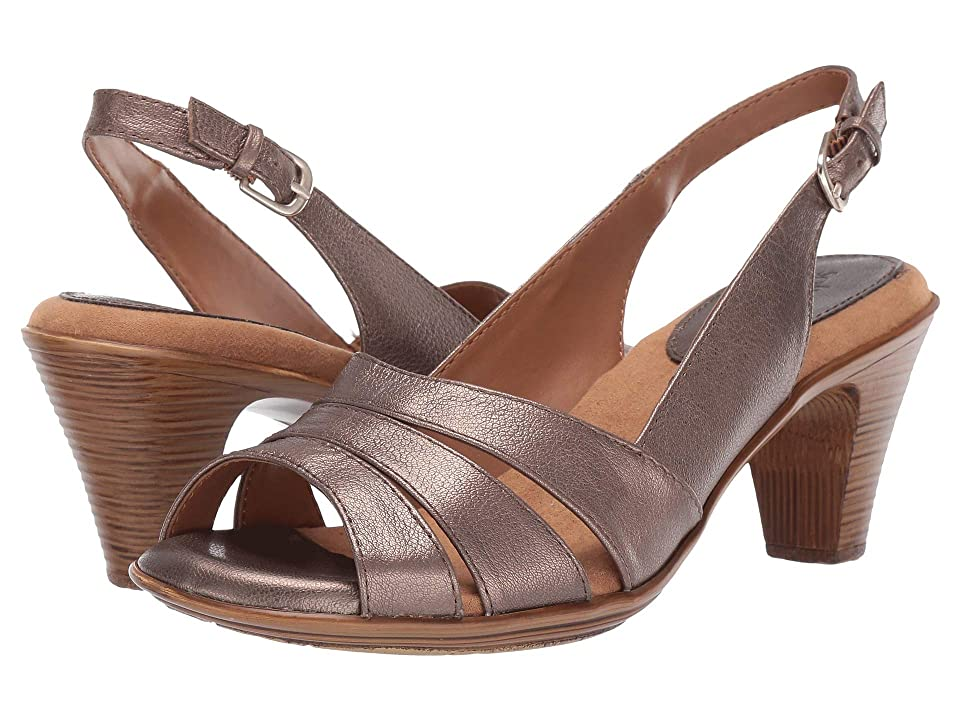 Vintage Sandals   Wedges, Espadrilles – 30s, 40s, 50s, 60s, 70s Comfortiva Neima - Soft Spots Taupe Metallic Womens Dress Sandals $79.95 AT vintagedancer.com