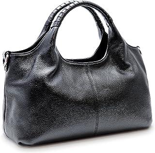 Iswee Womens Genuine Leather Handbags Tote Bag Shoulder Bag Top Handle Satchel Designer Ladies Purse Hobo Crossbody Bags