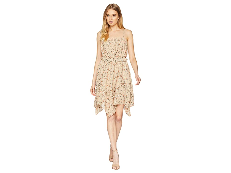 J.O.A. Tie Shoulder Ruffle Dress (Taupe Floral) Women