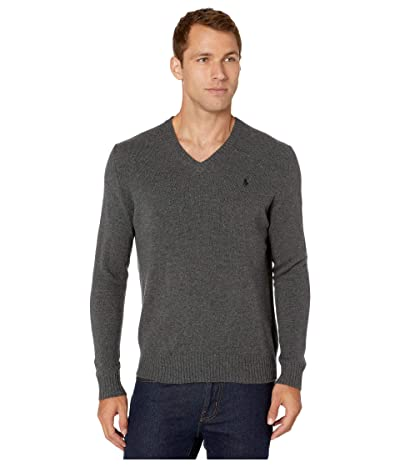 Polo Ralph Lauren Wool Cashmere V-Neck Sweater (Dark Charcoal Heather) Men