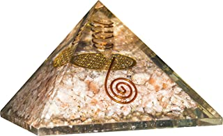 FASHIONZAADI Sunstone Orgone Pyramid with Crystal Pointer and Flower of Life Symbol for EMF Protection Pyramids Chakra Bal...