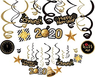 Kristin Paradise 30Ct Happy New Years Eve Hanging Swirl Decorations, 2020 NYE Glitter Gold Black Decor, NY Theme Party Supplies Pack, Eve-Nye Party Favors for Adult, Foil Home Decorating Kit