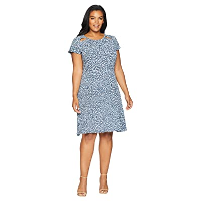 MICHAEL Michael Kors Plus Size Collage Floral Dress (True Navy/Light Chambray) Women
