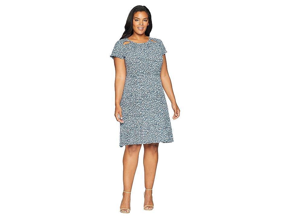 MICHAEL Michael Kors Plus Size Collage Floral Dress (True Navy/Light Chambray) Women