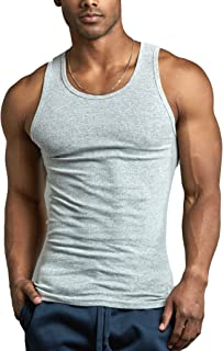 f86f1a8bae7bd ToBeInStyle Men s Pack of Fine Ribbed 100% Cotton Scoop Neck Sleeveless  Tanks