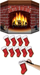 Brick Fireplace Stand-Up with 10 Mini Christmas Stocking Cutouts