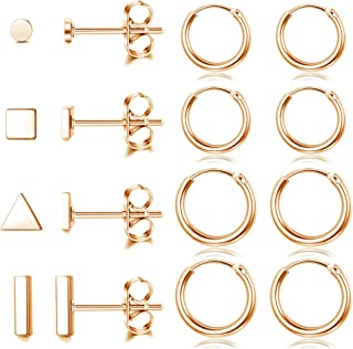 Udalyn 8 pares de pendientes de acero inoxidable para cartílago para mujeres y hombres, aretes de aro simples geométricos ...