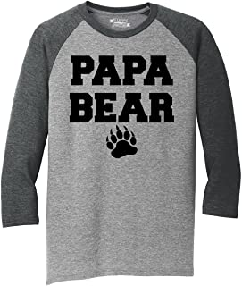 Mens Papa Bear T Shirt Cute Tee 3/4 Triblend