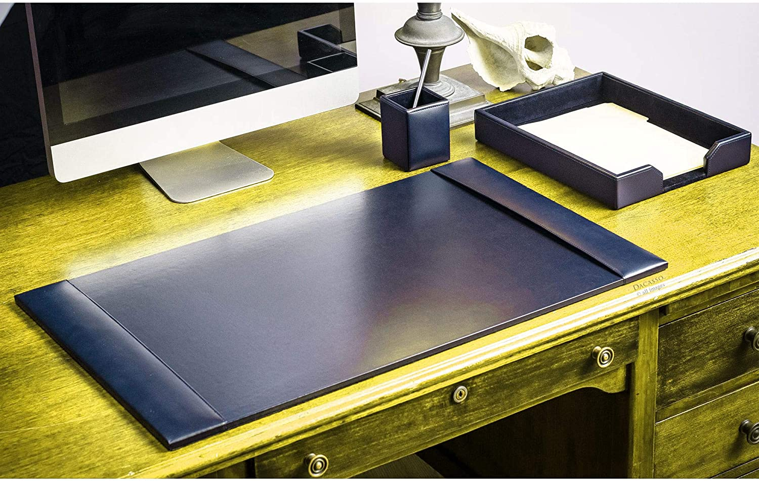 Navy Blue 3-Piece Leather At the price A surprise price is realized of surprise Bonded Set Desk