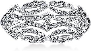 Bling Jewelry Grandi Cristallo Moda Art Deco in Vintage Gatsby Ispirato Sciarpa Spilla Pin per Donne in Ottone Placcato in...