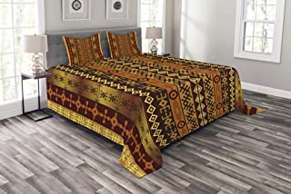 Lunarable Tribal Bedspread Set Queen Size, African Motifs with Ethnic Effects and Traditional Cultural Folkloric Vintage Design, Decorative Quilted 3 Piece Coverlet Set with 2 Pillow Shams, Multicolor
