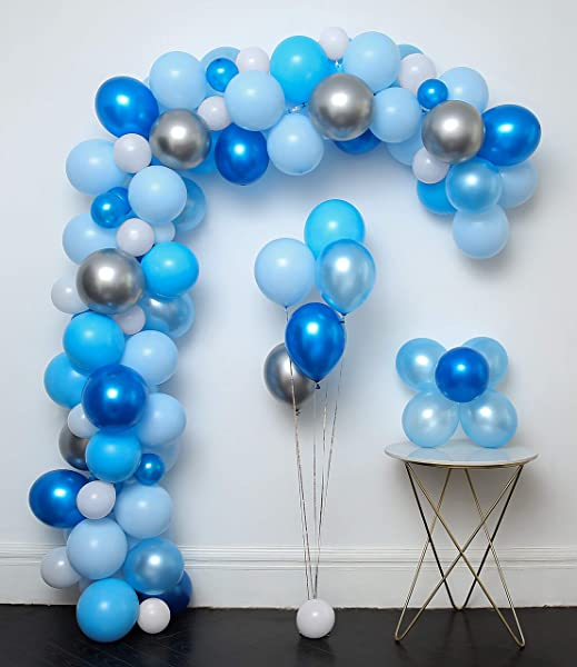 Blue And Sliver Latex Metallic Pearlescent Balloon 110 Pcs 12in Arch Garland Kit Decorating Strip Tying Tools Glue Dots Flower Clips Silver Ribbons Boy Baby Shower Party Decorations