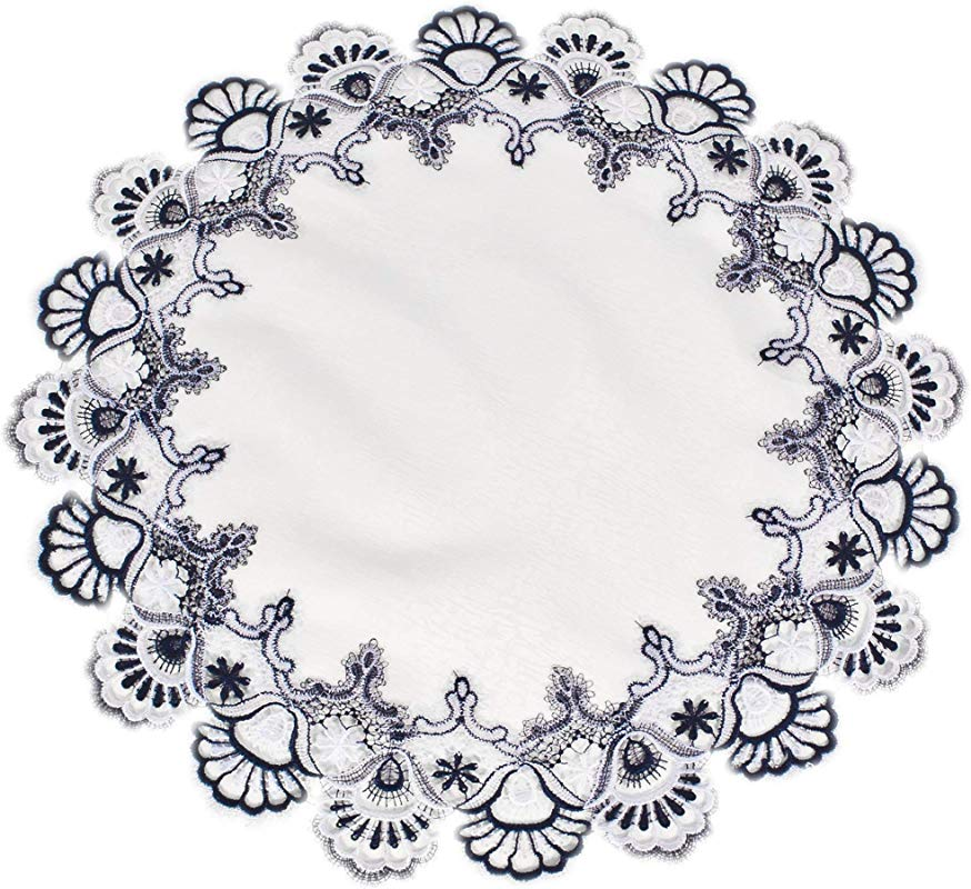 Linens Art And Things White Navy Blue Jacquard Peacock Tail Lace Doily Place Mat Table Centerpiece Table Topper 23 Inches Round