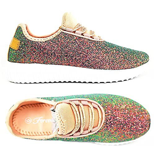 07d1aaa1b8b4 Forever Link Remy-18k Kids Todddler Girls Fashion Sneaker Glitter Flat Lace  Up Shoes
