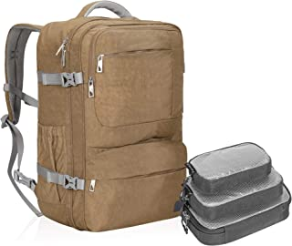 Hynes Eagle 44L Carry on Backpack Flight Approved Compression Travel Pack Cabin Bag, Khaki with Grey 3PCS Packing Cubes 2019 (Khaki) - HE0828-10PC