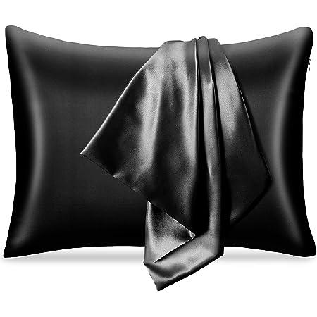 pendali Taie d'oreiller en Satin pour Cheveux et Peau, 100% Microfibre Taie Oreiller avec Fermeture à Glissière Cachée, Anti-acariens et Hypoallergénique, 1 Pièce de Housse Oreiller 48 x 66 cm (Noir)