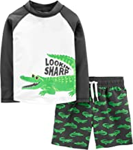Simple Joys by Carter's Boys' Toddler 2-Piece Swimsuit Trunk and Rashguard, Green Alligator, 5T