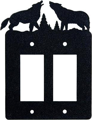 Innovative Fabricators Inc Howling Wolves Double Gang Light Switch Wall Plate Double Rocker Gfci Black Amazon Com