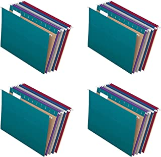 Pendaflex Recycled Hanging File Folders, Letter Size, Assorted Jewel-Tone Colors, Two-Tone for Foolproof Filing, 1/5-Cut T...