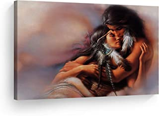 SmileArtDesign Indian Wall Art Native American Lovers Canvas Print Home Decor Decorative Artwork Gallery Wrapped Wood Stretched and Ready to Hang -%100 Handmade in The USA - 15x22