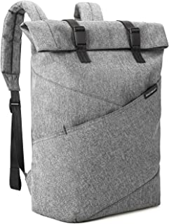 BAGSMART Laptop Backpack Weekender Travel Business Multipurpose Roll-Top Fashion Rucksack Fits 15.6 Inch Laptops, Grey