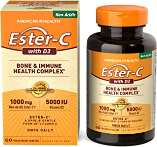 American Health Ester-C with D3 Bone & Immune Health Complex Vegetarian Tablets - 24-Hour Immune Support, 1000 mg Ester-C,...