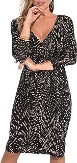 KRISP Abito Donna Elegante Scollo V Fashion Moderno Taglie Forti Sexy Cocktail Curvy Maniche 3 4 Corto Aderente