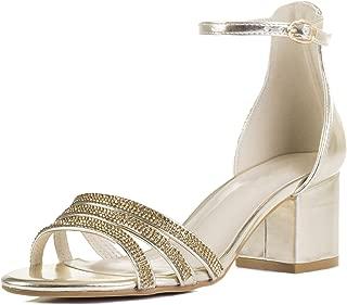 Good Looking Women's Diamante Block Heel Sandals Pumps Shoes