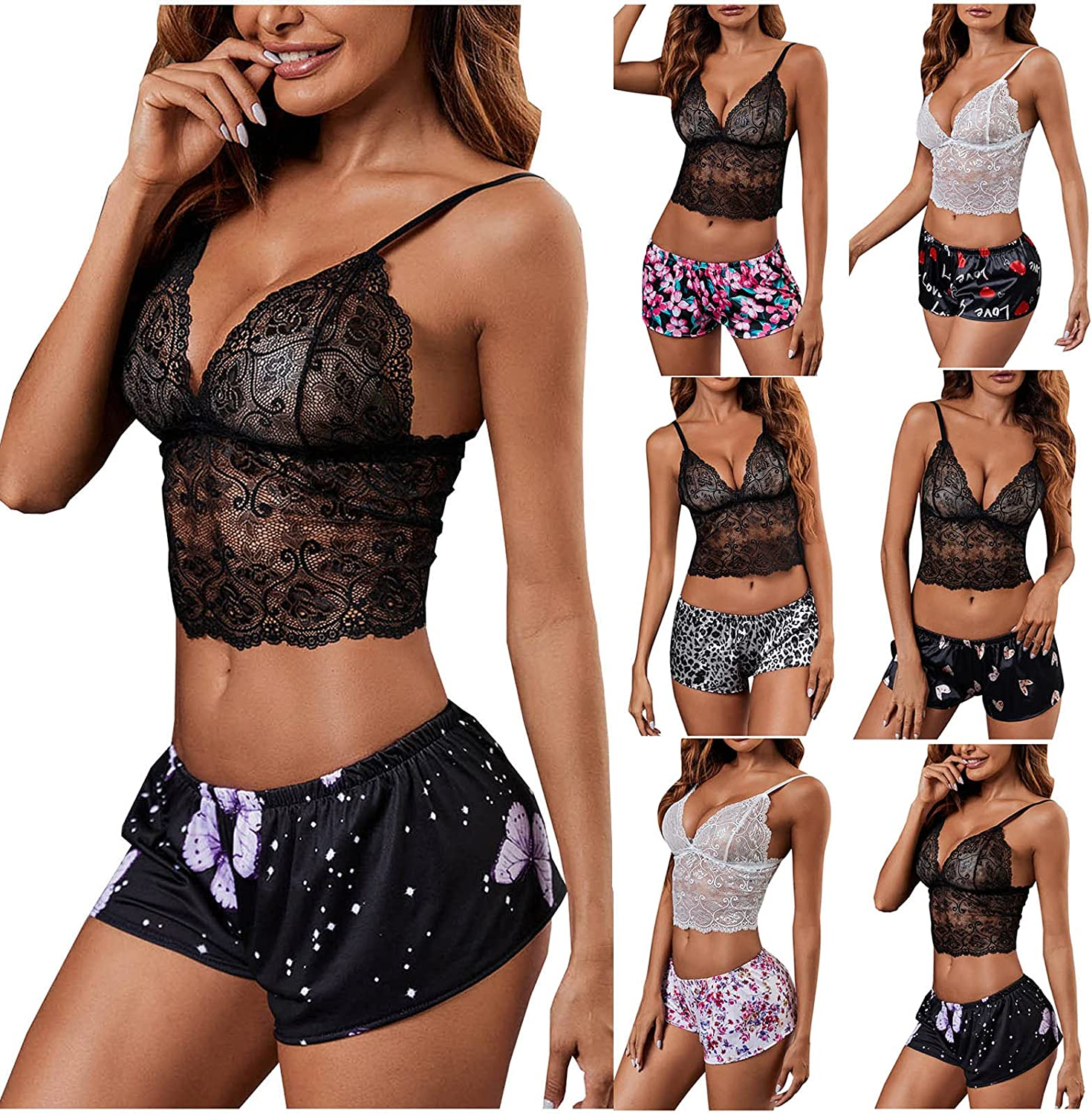 Women Sexy Lingerie Max 75% OFF Set Wireless Two Se store Panty Piece and Bra Lace
