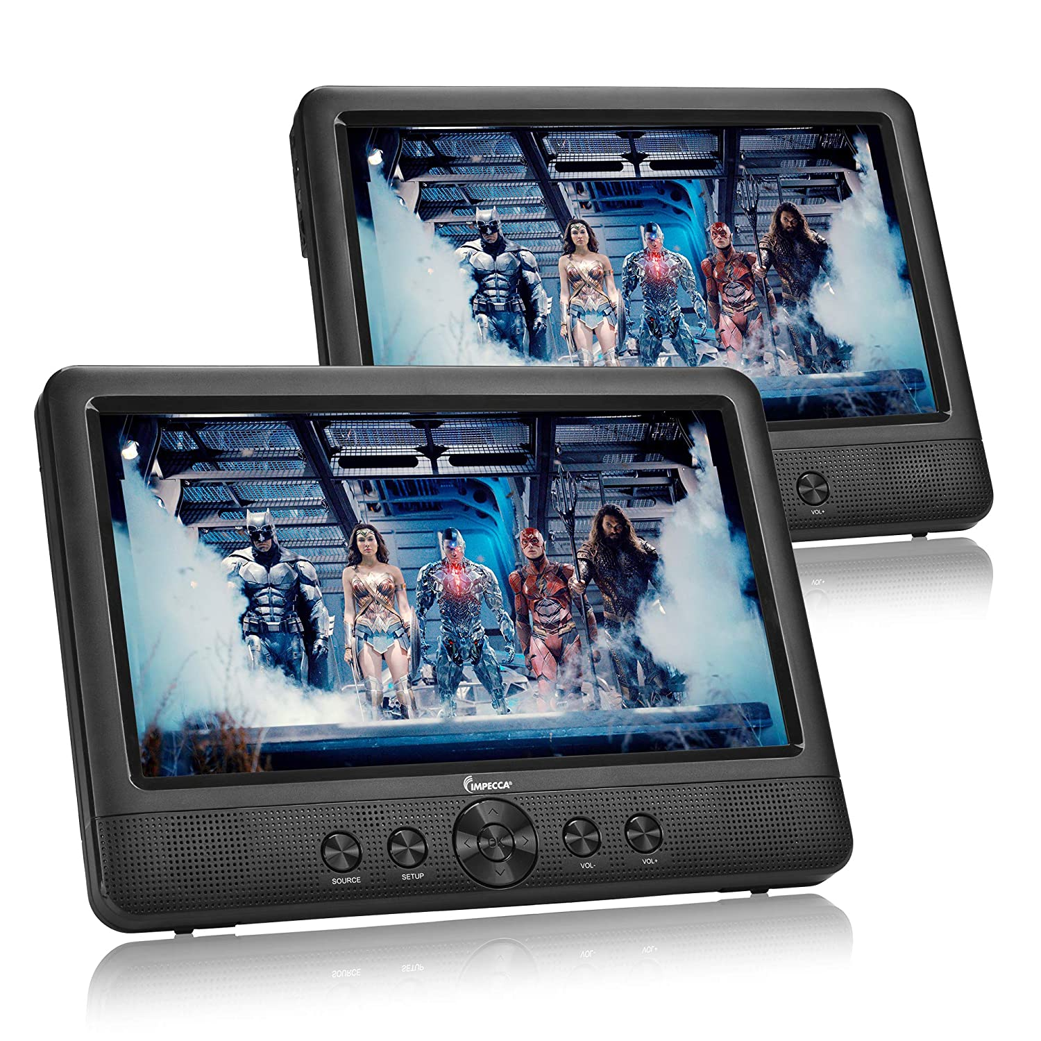 """IMPECCA DVD Player, Portable 10.1"""" Dual Screen DVD Player for Car Headrest or Home with USB/SD Card Reader, Built in Rechargeable Battery, Last Memory Function, Two Screens Play One Movie"""