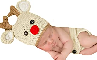Melondipity Red Nosed Reindeer Hat and Diaper Cover Newborn Set - Christmas
