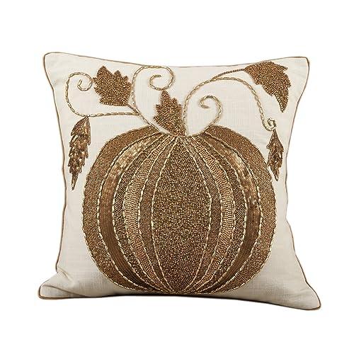 172234a95b76 Fennco Styles Elegant Decorative Hand Beaded Pumpkin Cotton Throw Pillow