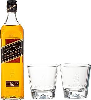 Johnnie Walker Black Label, Geschenkpackung mit 2 Gläsern Blended Whisky 1 x 0.7 l