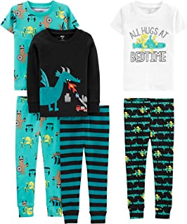 Simple Joys Carter's Baby, Little Kid, and Toddler Boys' 6-Piece Snug Fit Cotton Pajama Set