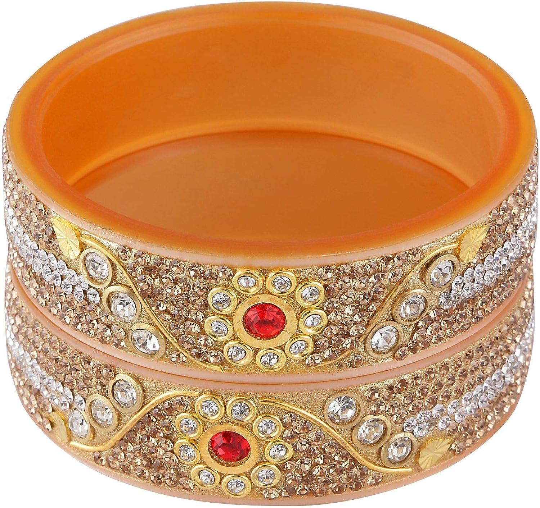 Efulgenz Fashion Jewelry Indian Bollywood Crystal Rhinestone Wedding Bridal Bracelet Bangle Set (2 Pcs)