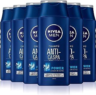 NIVEA MEN Anti-caspa Power Champú anticaspa para cabello normal, fortalecedor con extracto de bambú, para hombres - pack de 6 x 250 ml