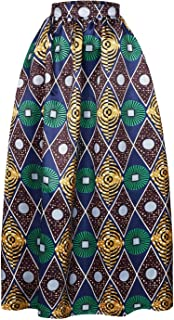 Women's African Printed Pleated Maxi Skirt High Waist A Line Dress
