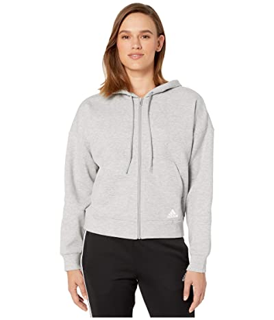 adidas Must Have Double Knit Full Zip Hoodie (Medium Grey Heather/White) Women