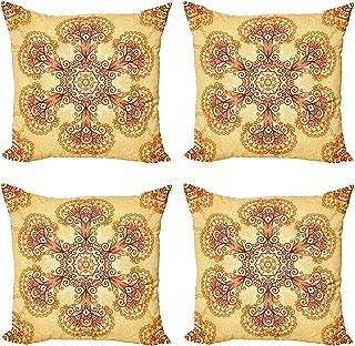 ABAKUHAUS Étnico Set de 4 Fundas para Cojín, Ornamentos orientales de la Vendimia, Estampado Digital en Ambos Lados y Cremallera, 45 cm x 45 cm, Oscuro Naranja Albaricoque