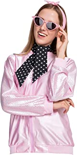 50s Pink Coat Halloween Costumes Lady with 2 Neck Scarf and Cateye Glasses for Women Role-Playing and Fancy Dress Props