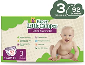 Happy Little Camper x Hilary Duff Ultra Absorbent Hypoallergenic Natural Baby Diapers with Bio Core Blend and Strong Latex and Chlorine Free Protection  Size 3  92 Count