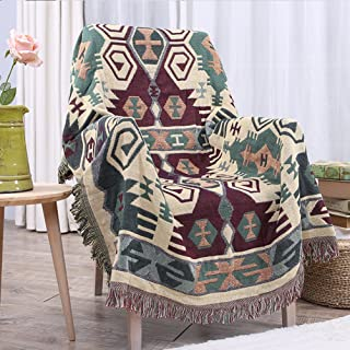 YJBear Double Sided Bohemian Decorative Cotton Woven Throw Blanket with Fringe Tapestry Super Soft Warm Chenille Knitted Sofa Towel Couch Blanket with Tassel Green 35