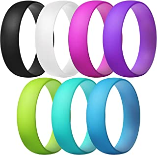 ThunderFit Silicone Rings, 7 Rings / 1 Ring Wedding Bands for Men & Women 6mm Wide - 1.5mm Thick