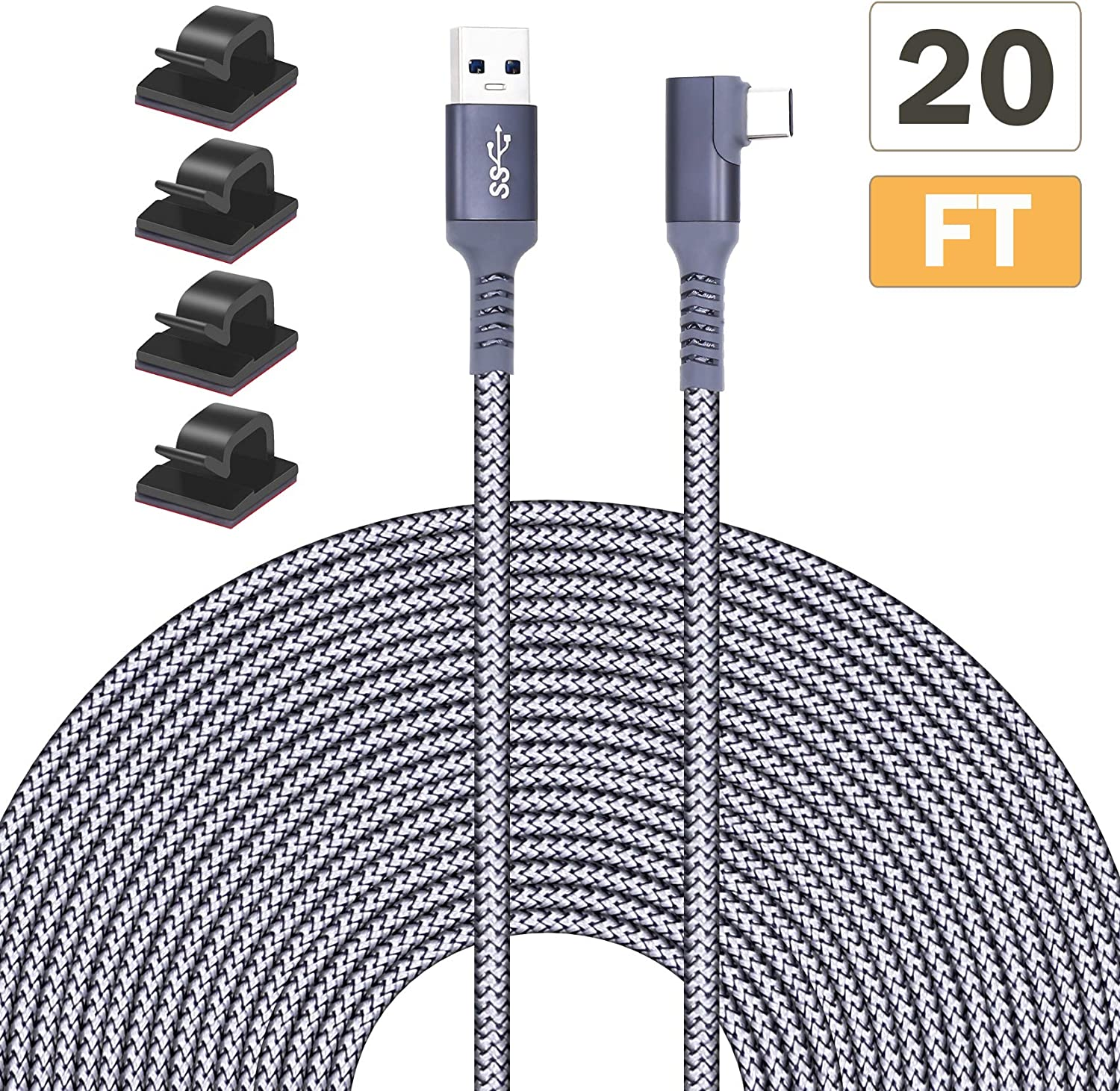 Tanzfrosch 20FT 6M Nylon Braided Link Cable for Oculus Quest 2 Quest 1 VR Headset,Rift S, USB 3.0 Type A to C 5Gbps High Speed Data Transfer Charging Cord