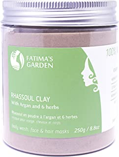 Rhassoul Clay by Fatima's Garden, 100% Natural Moroccan Ghassoul Clay for Face, Hair & Hammam; enriched with Argan and 6 h...