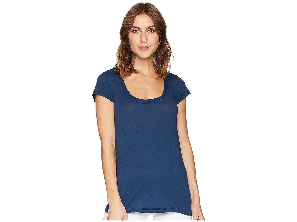 Allen Allen Basic Cap Sleeve Scoop Neck Tee (Lapis) Women's T Shirt