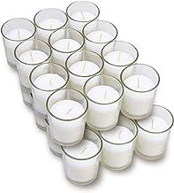 Harmonic Blossom Glass Votives 24 Pack - Premium White Unscented Votive Candles in Clear Elegant Holders - 15 Hour Long La...