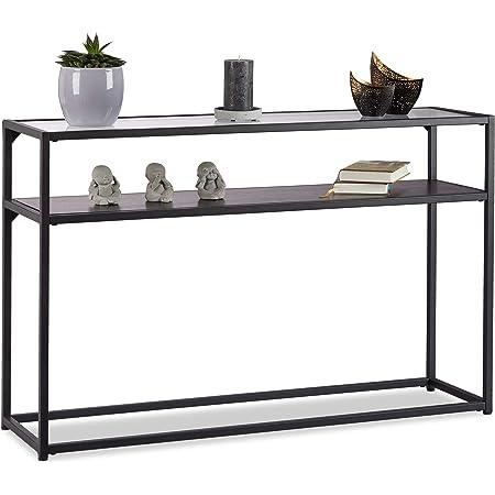 Relaxdays, Noir Console Verre, Dessus de Table transparent, Structure Métal, Dépôt à 4 pieds, HLP 70,5x110x30 cm, 5 x 110 x 30 cm