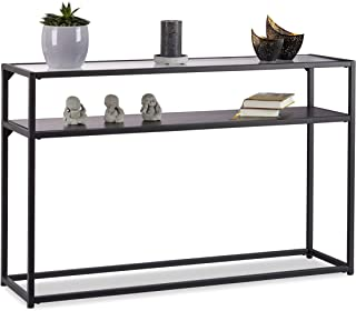 Relaxdays, Noir Console Verre, Dessus de Table transparent, Structure Métal, Dépôt à 4 pieds, HLP 70,5x110x30 cm, 5 x 110 ...